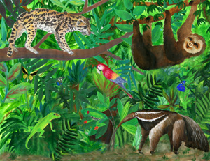 Illustration of animals in a rainforest.