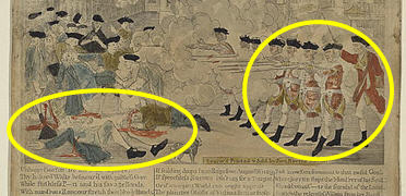 Detail of Boston Massacre poster with highlighted areas