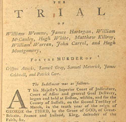 Title page from collection of depositions from soldiers' trial
