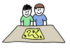 two friends at a table playing a board game