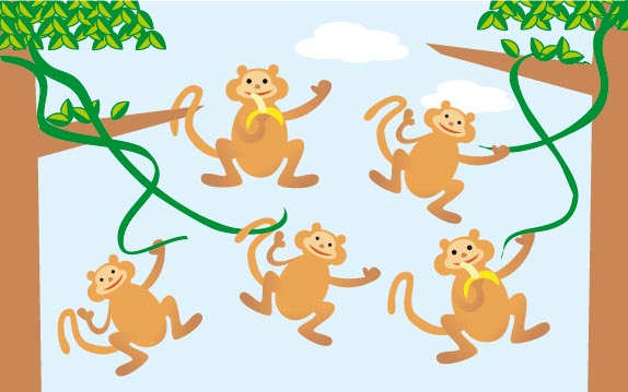 Monkeys swinging in the trees and eating bananas.