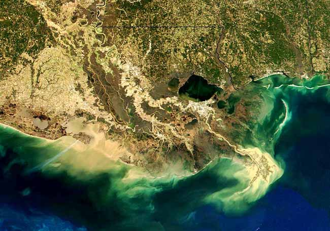 Delta of the Mississippi River showing sediment swirling in the Gulf of Mexico.