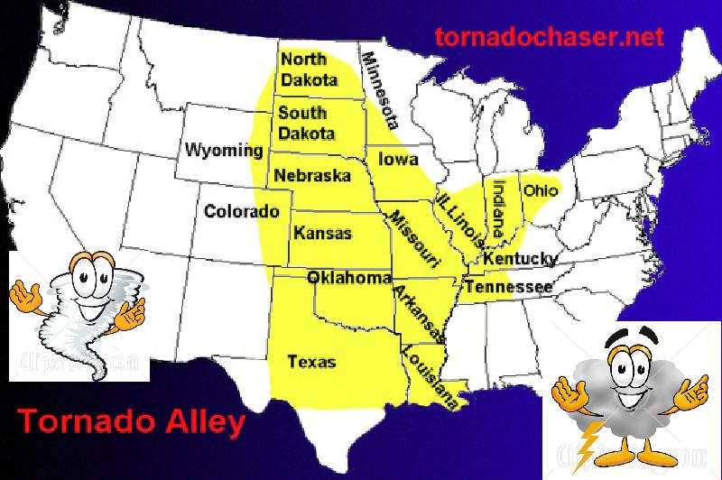 tornado alley map. The teacher pulled down a map